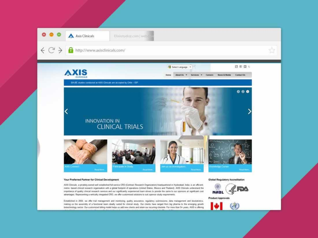 axis-clinicals-helthcare-websitedevelopment-elixirstudioz-hyderabad